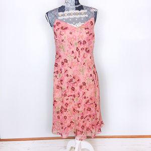 LOFT Ann Taylor Spaghetti Strap Floral Silk Dress